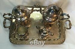 Vintage Silverplate B. S. G. Argent Sur Cuivre Set 5 Pc Café Thé Avec Grand Plateau