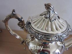 Vintage Superbe Goldfeder Co. Fantaisie Grande Plaque En Argent 7pc Service À Thé