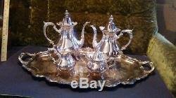 Vintage Wallace 1200 Baroque Silverplate Café Thé Crème Sucre Service Set