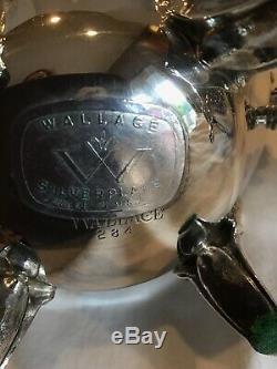 Vintage Wallace Baroque Silverplate Café Thé Crème Sucre Set Pristine Cond