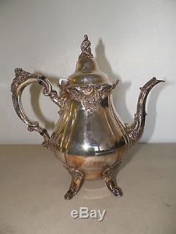 Wallace Baroque Silverplate Set De Thé Coffee & Tea Pot Cream & Sugar