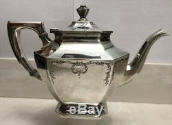 Wallace Sterlingrw & S Somerset Motif 5pc Tea Set Incl. Bowl Déchets 54.07ozt