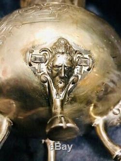 Webster Chased Mouvement Esthétique Argent Figural Cheval Lion Tea Set C-1800